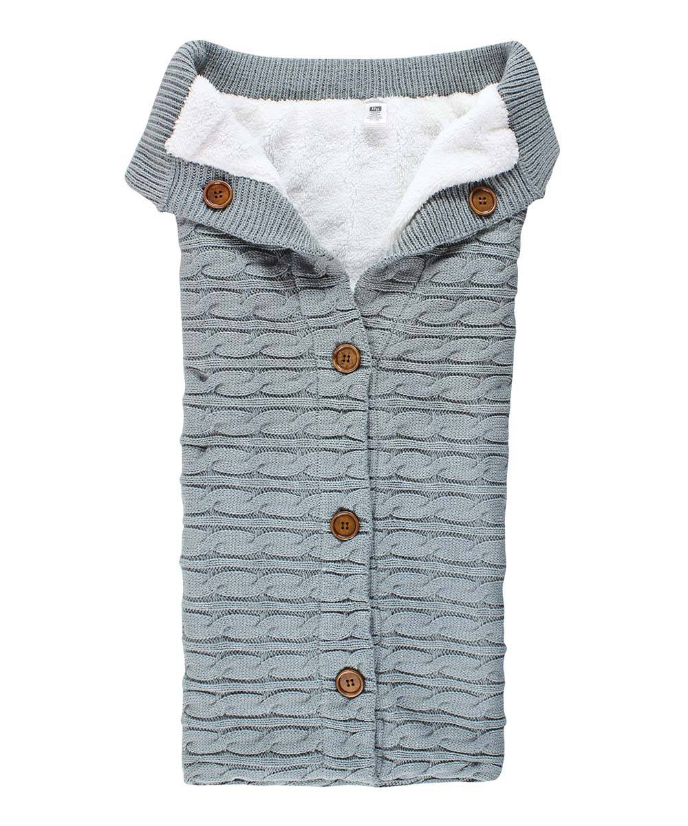 Hudson Baby Receiving and Stroller Blankets Gray - Gray Cable-Knit Button-Up Sherpa-Line Wearable Bl