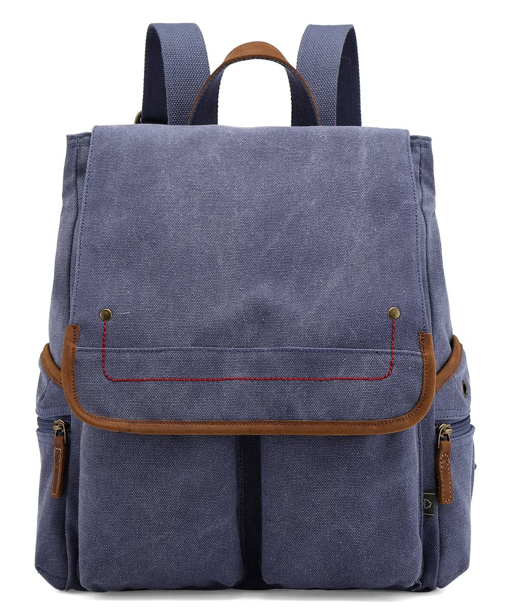 TSD Backpacks DENIM - Denim Blue Atona Flap Canvas Backpack