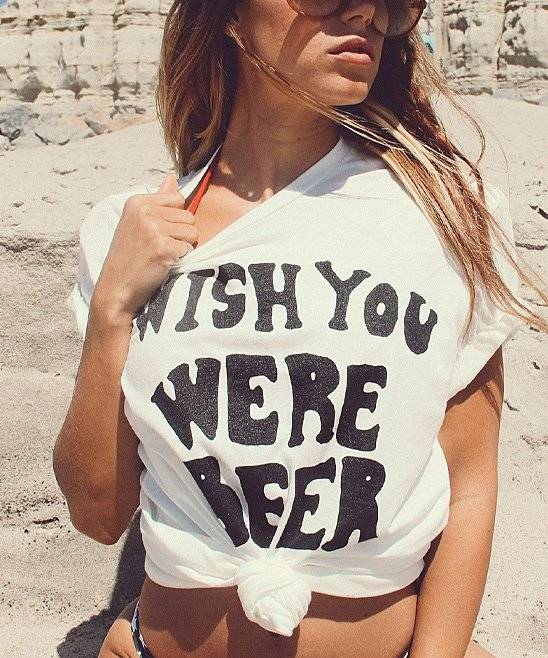 LIFE Clothing Co. Women's Tee Shirts White - White 'Wish You Were Beer' Scoop Neck Tee - Women