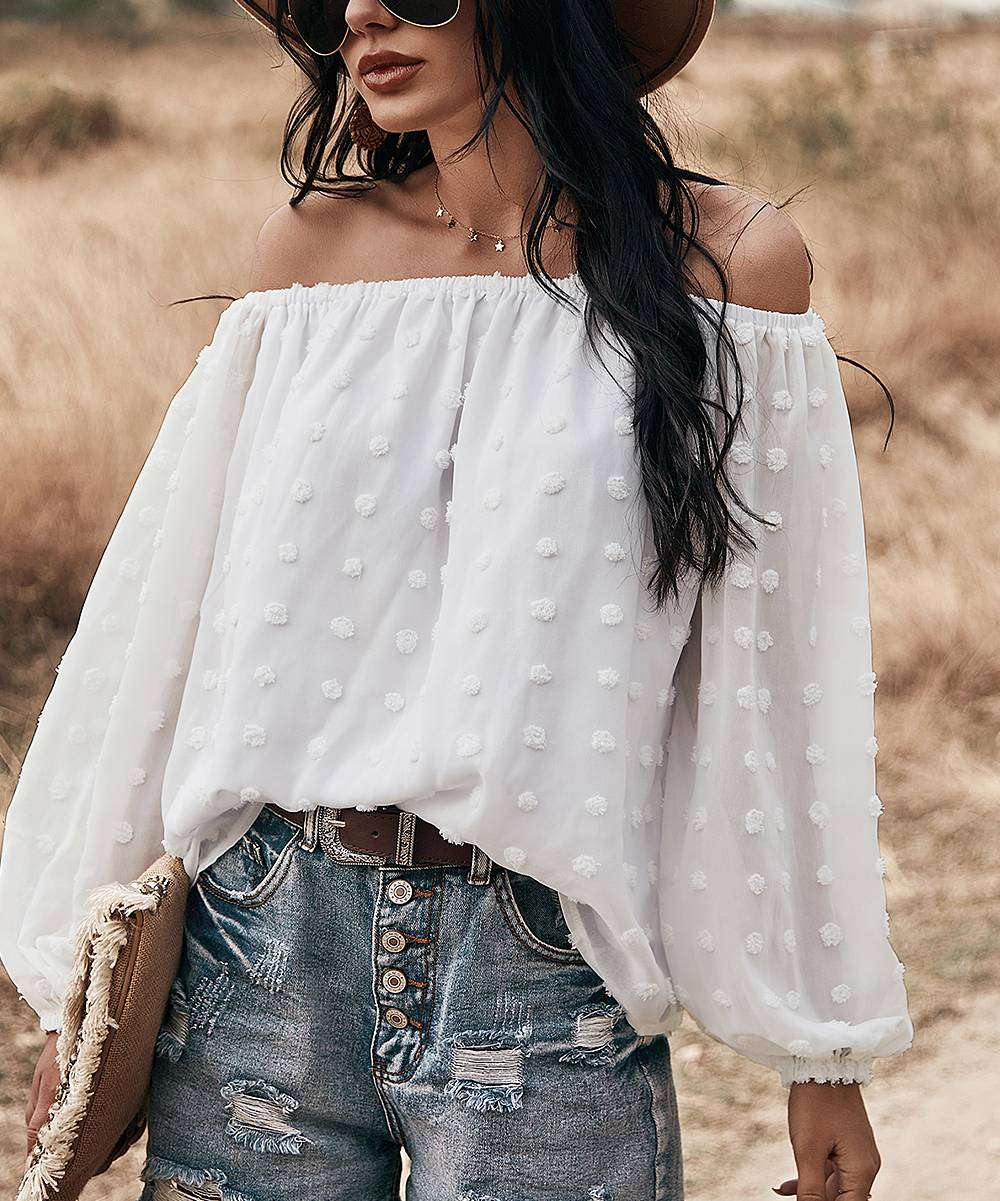 Supreme Fashion Women's Blouses WHITE - White Swiss Dot Bishop-Sleeve Off-Shoulder Top - Women
