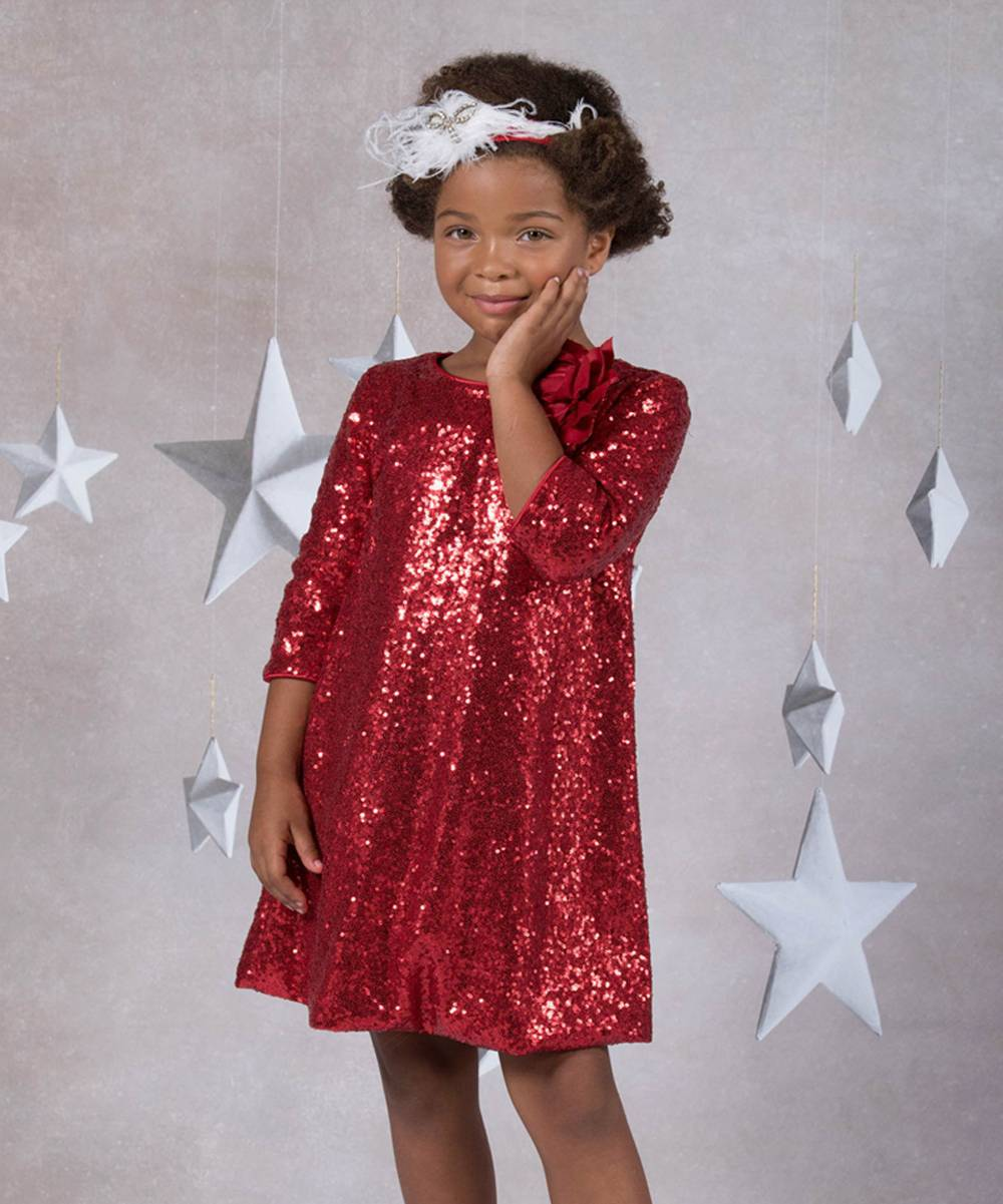 Kid's Dream Girls' Special Occasion Dresses Red - Red Floral-Accent Sequin Shift Dress - Girls