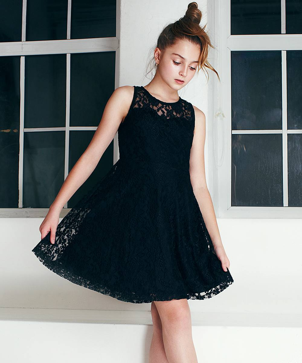 Precious Kids Girls' Special Occasion Dresses Black - Black Lace Sleeveless A-Line Dress - Girls
