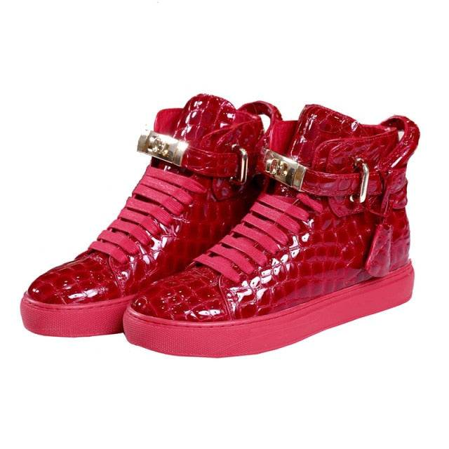 CrocodileWear Embossed Women's Crocodile Pattern High Top Fashion Designer Shoes