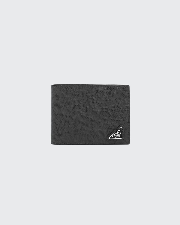 Prada Men's Saffiano Leather Wallet w/ Bicolor Detail  - F0002 NERO - F0002 NERO