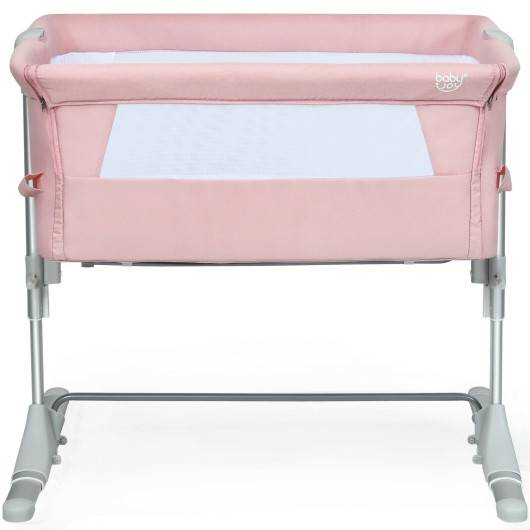 Travel Portable Baby Bed Side Sleeper Bassinet Crib with Carrying Bag-Pink