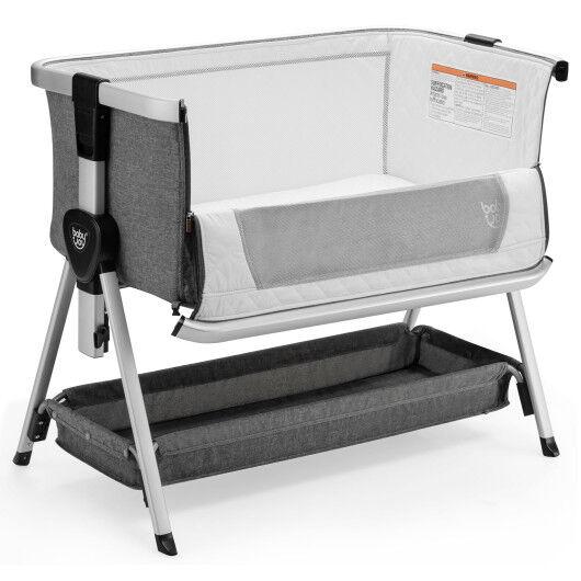 Baby Bed Side Crib Portable Adjustable Infant Travel Sleeper Bassinet-Dark Gray
