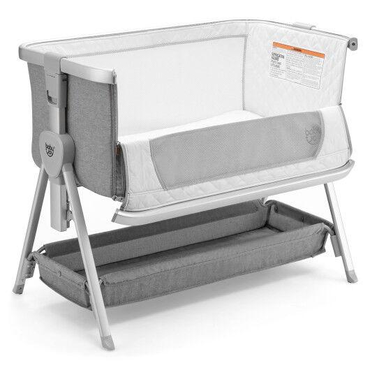 Baby Bed Side Crib Portable Adjustable Infant Travel Sleeper Bassinet-Gray