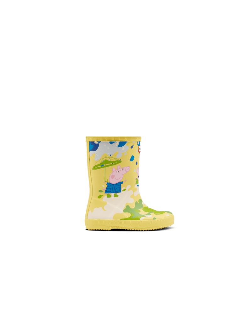 Kids First Peppa Pig Muddy Puddles Rain Boots  - Yellow - Size: US 13