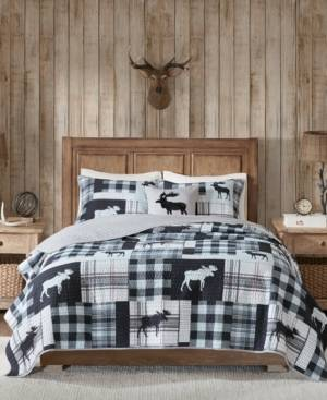 Woolrich Sweetwater Reversible 4-Pc. Oversized Full/Queen Quilt Set - Black/grey - Size: Full/Queen