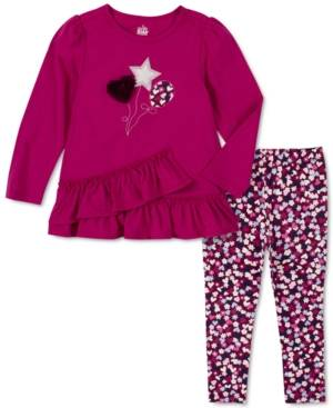 Kids Headquarters Baby Girls Double-Tier Ruffle Tunic & Ditsy Floral Leggings Set - Girls - Wine - S