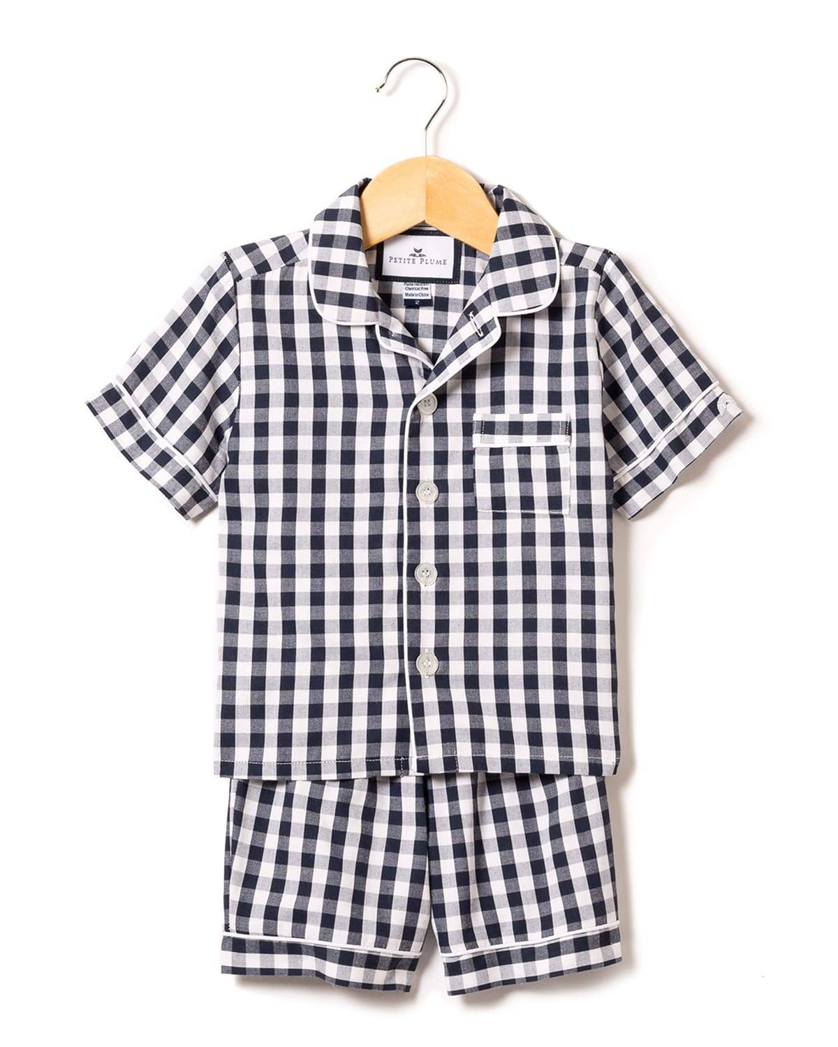 Kid's Gingham Twill Pajama Set w/ Contrast Piping, Size 6M-14 - Size: 14 - NAVY GINGHAM