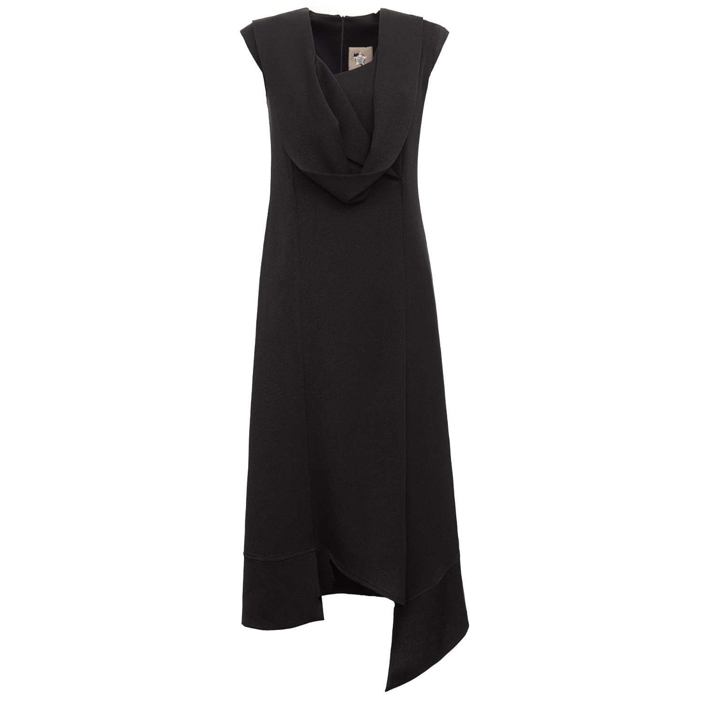 Julia Allert Women's Artisanal Black Fashion Asymmetrical Midi Dress XL Julia Allert