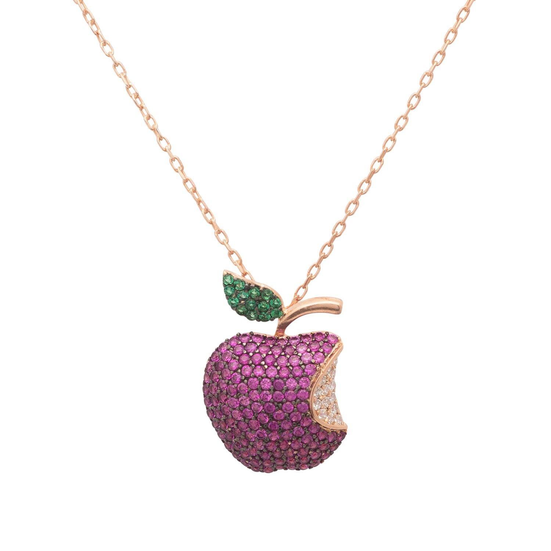 LATELITA Women's Artisanal Rose Gold Apple Bite Necklace LATELITA