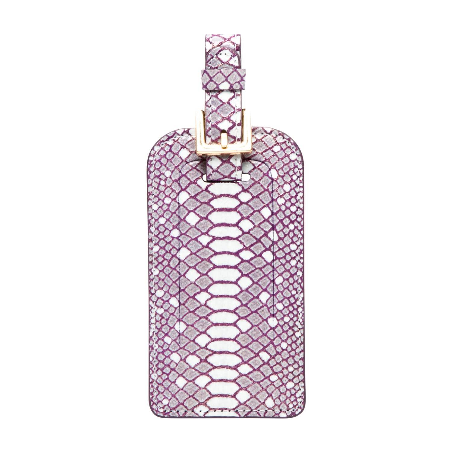 Primo Luxe Leather Vesper Embossed Luggage Tag - Magenta Primo Luxe