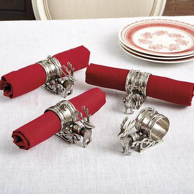 Ballard Designs Set of 4 Reindeer & Sleigh Napkin Rings - Ballard Designs