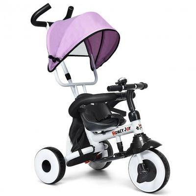 Costway 4-in-1 Kids Baby Stroller Tricycle Detachable Learning Toy Bike-Pink