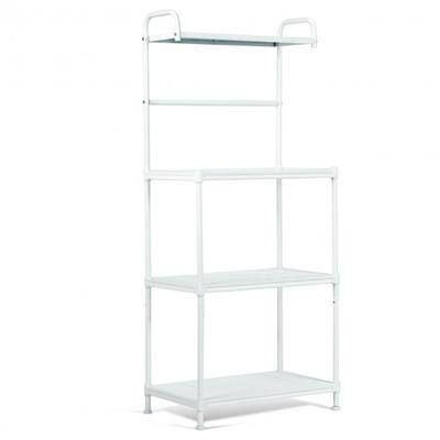 Costway 4-Tier Kitchen Storage Baker Microwave Oven Rack Shelves-White