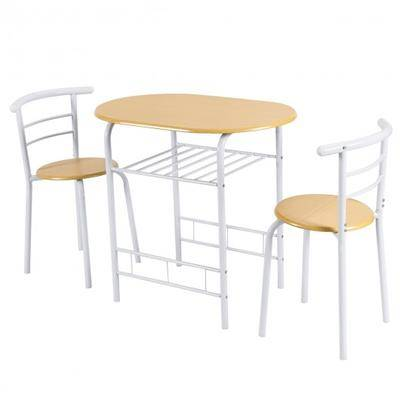 Costway 3 pcs Home Kitchen Bistro Pub Dining Table 2 Chairs Set-Tan