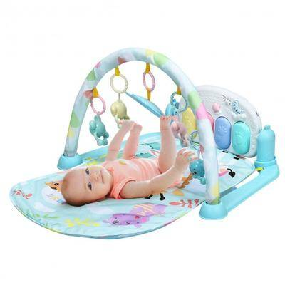 Costway 3 in 1 Fitness Music and Lights Baby Gym Play Mat-Blue