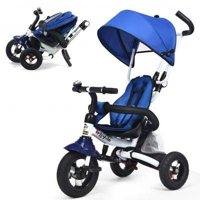 Costway 6-In-1 Kids Baby Stroller Tricycle Detachable Learning Toy Bike-Blue