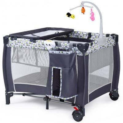 Costway Foldable Travel Baby Crib Playpen Infant Bassinet Bed w/ Carry Bag-Gray