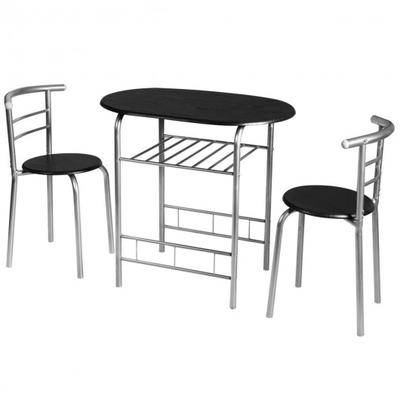Costway 3 pcs Home Kitchen Bistro Pub Dining Table 2 Chairs Set- Silver