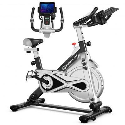 Costway Stationary Silent Belt Adjustable Exercise Bike with Phone Holder and Electronic Display-Black
