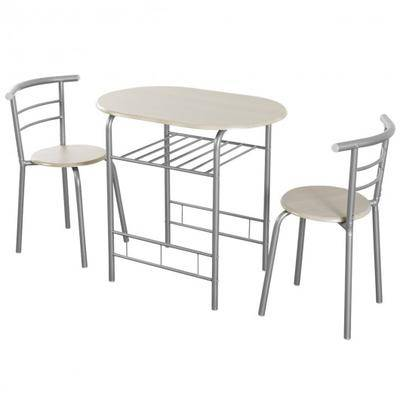 Costway 3 pcs Home Kitchen Bistro Pub Dining Table 2 Chairs Set