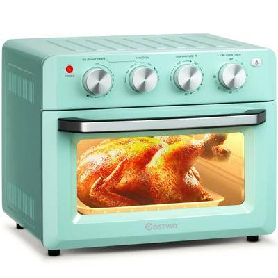 Costway 19 Qt Dehydrate Convection Air Fryer Toaster Oven with 5 Accessories-Green