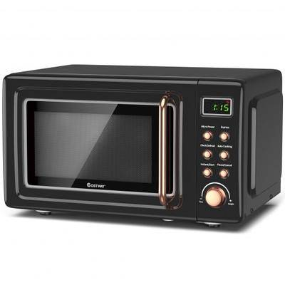 Costway 700W Retro Countertop Microwave Oven with 5 Micro Power and Auto Cooking Function-Golden