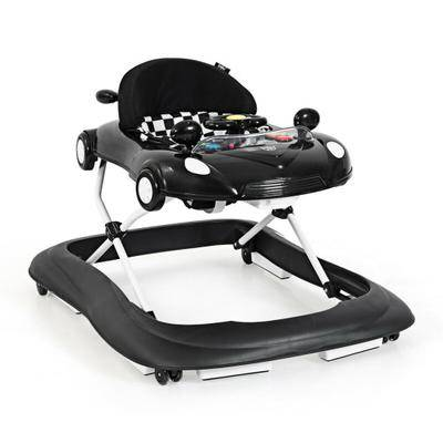 Costway 2-in-1 Foldable Baby Walker with Music Player and Lights-Black