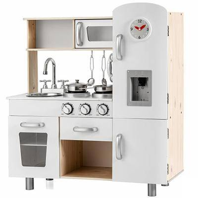 Costway Vintage Play Kitchen Pretend Kids Cooking Playset Toys with Water Dispense