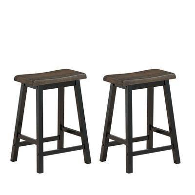 "Costway ""Costway 24"""" Height Set of 2 Home Kitchen Dining Room Bar Stools-Brown"""