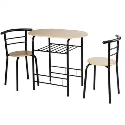 Costway 3 pcs Home Kitchen Bistro Pub Dining Table 2 Chairs Set-Natural