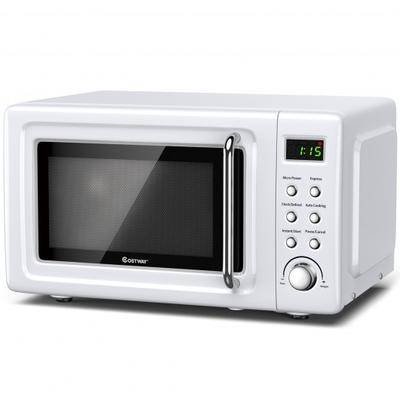 Costway 700W Retro Countertop Microwave Oven with 5 Micro Power and Auto Cooking Function-White