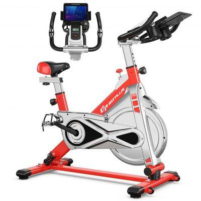 Costway Stationary Silent Belt Adjustable Exercise Bike with Phone Holder and Electronic Display-Red