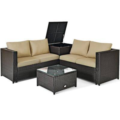 Costway 4 Pcs Outdoor Patio Rattan Furniture Set with Cushioned Loveseat and Storage Box-Brown