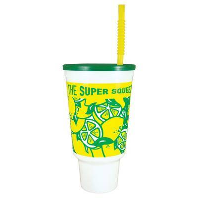 WebstaurantStore 44 oz. Lemonade Economy Car Cup with Green Lid and Straw - 210/Case