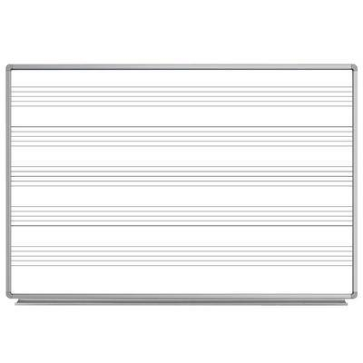 "Luxor ""Luxor WB7248M 72"""" x 48"""" Wall-Mounted Magnetic Music Whiteboard with Aluminum Frame"""