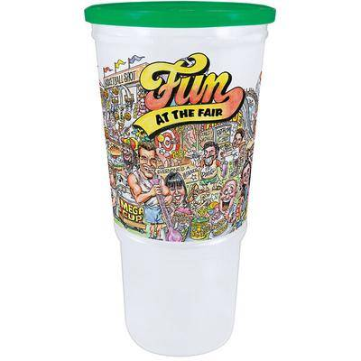 "WebstaurantStore ""32 oz. Economy Car Cup with """"Fun at the Fair"""" Design and Green Lid - 504/Case"""