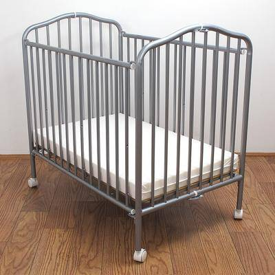"""L.A. Baby """"24"""""""" x 38"""""""" Pewter Colored Metal Folding Crib with 2"""""""" Flame Retardant - L.A. Baby CS-81"""""""