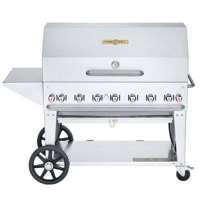 "Crown Verity CV-MCB-48-SI50/100-PKG Liquid Propane 48"""" Mobile Outdoor Grill with Single Gas Connection, 50-100 lb. Capacity, and Accessory Package"""