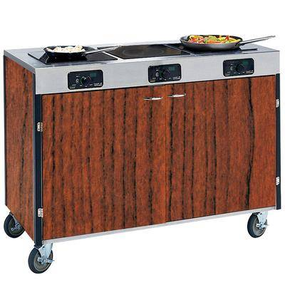 "Lakeside ""Lakeside 2080VC Creation Express Mobile Cooking Cart with 3 Induction Burners, No Exhaust Filtration, and Victorian Cherry Laminate Finish - 22"""" x 48"""" x 35 1/2"""""""