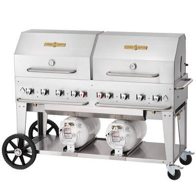 """Crown Verity CCB-60RDP 60"""""""" Outdoor Club Grill with 2 Horizontal Propane Tanks and Roll Dome Package"""""""