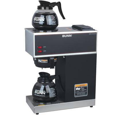 Bunn 33200.0015 VPR Black 12 Cup Pourover Coffee Brewer with 1 Upper and 1 Lower Warmer and 2 Glass Decanters - 120V