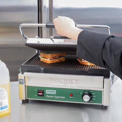 """Waring """"Waring WPG250B Panini Supremo Grooved Top & Bottom Panini Sandwich Grill - 14 1/2"""""""" x 11"""""""" Cooking Surface - 208V, 2808W"""""""