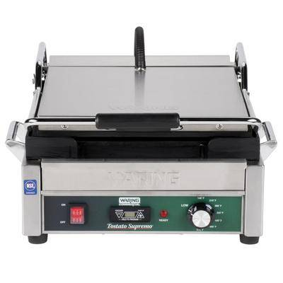 """Waring """"Waring WFG275T Tostato Supremo Smooth Top & Bottom Panini Sandwich Grill with Timer - 14"""""""" x 14"""""""" Cooking Surface - 120V, 1800W"""""""