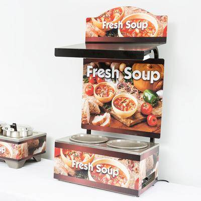 Vollrath 7203203 Twin 7 Qt. Well Soup Merchandiser Base with Menu Board, Canopy Light, and Country Kitchen Graphics - 120V, 700W