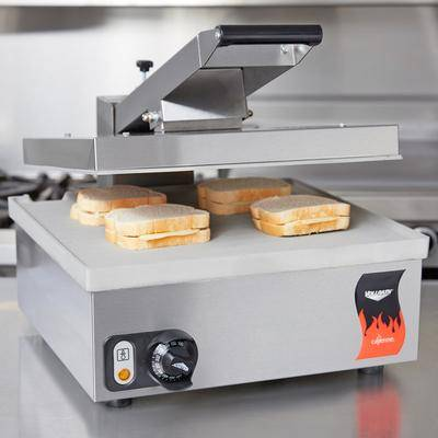 """Vollrath """"Vollrath 40793 Cayenne Super Size Single Panini Sandwich Press with Smooth Aluminum Plates - 17 7/16"""""""" x 15 5/8"""""""" Cooking Surface - 120V, 1800W"""""""