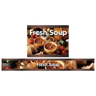 Vollrath 720201103 Full Size Soup Merchandiser Base with Menu Board, 4 Qt. Accessory Pack, and Country Kitchen Graphics - 120V, 1000W